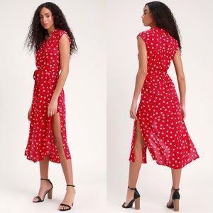 Billabong Little Flirt Red Button Down Midi Dress